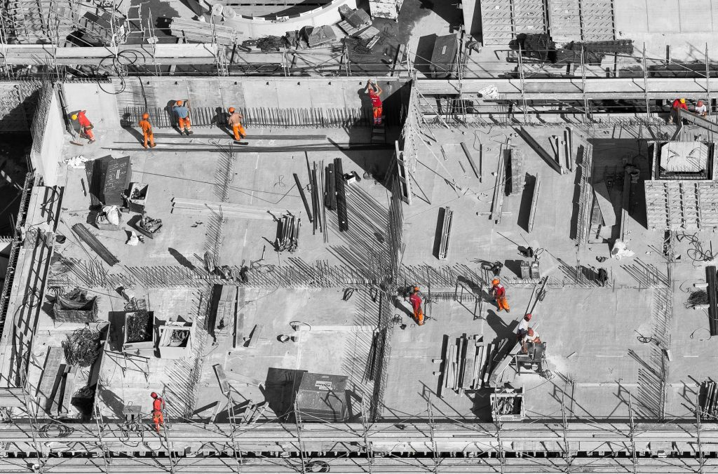 Construction site aerial picture